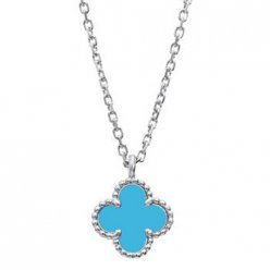 alhambra white gold fake van cleef & arpels turquoise pendant