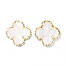 alhambra gelbgold replika van cleef & arpels white mother-of-pearl ohrringe