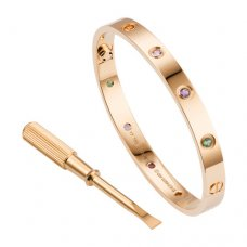 cartier copy love bracelet pink gold steel sapphire pomegranate stone amethyst