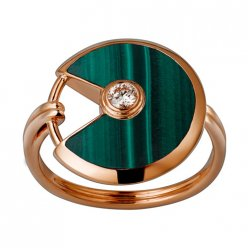 amulette de cartier replica pink gold ring malachite diamond B4214300