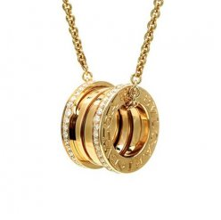 Bvlgari B.ZERO1 fake necklace yellow gold paved with diamonds pendant