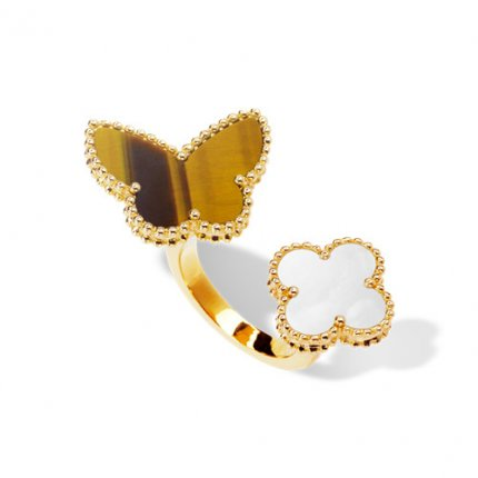 between the finger yellow gold fake van cleef & arpels white mother-of-pearl and tiger's eye ring