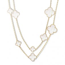 alhambra yellow gold replica van cleef & arpels white mother-of-pearl long necklace