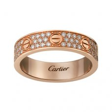 cartier copie love Or rose bague Diamant couvert Version étroite