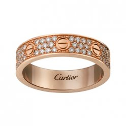 cartier copy love pink Gold ring covered diamond narrow version