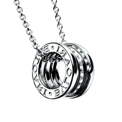 Bvlgari B.ZERO1 faux Collier or blanc Pavé de diamants pendentif