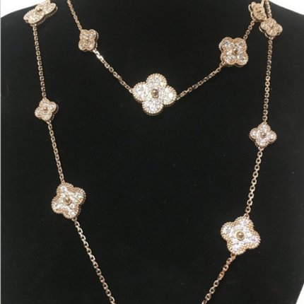 alhambra pink gold copy van cleef & arpels round diamonds long necklace