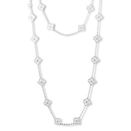 alhambra white gold replica van cleef & arpels round diamonds long necklace