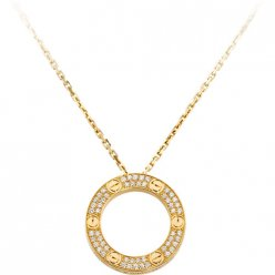 cartier faux love Collier or jaune Pavé de diamants pendentif