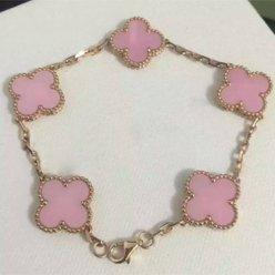 alhambra or jaune replique van cleef & arpels pink mother-of-pearl bracelet