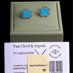 alhambra pink gold fake van cleef & arpels turquoise earrings