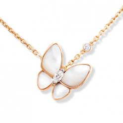 alhambra pink gold fake van cleef & arpels white mother-of-pearl pendant