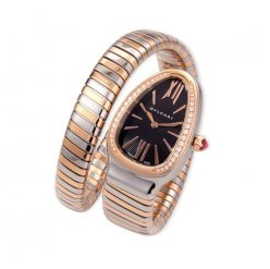 Bvlgari Serpenti Tubogas replica watch two-tone pink gold with diamonds
