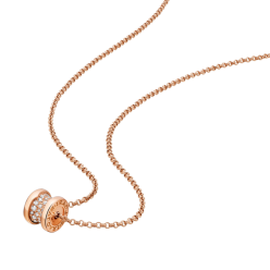 Bvlgari B.ZERO1 fake necklace pink gold paved with diamonds pendant