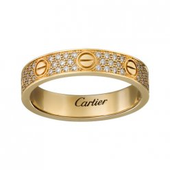cartier replica love yellow gold ring covered diamond narrow version