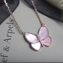 alhambra rotgold replik van cleef & arpels pink mother-of-pearl anhänger