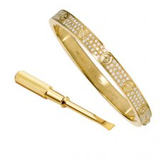 cartier replica love bracelet yellow gold steel paved with diamonds