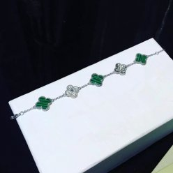 alhambra white gold replica van cleef & arpels malachite round diamonds bracelet