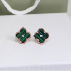 alhambra pink gold replica van cleef & arpels malachite round diamonds earrings
