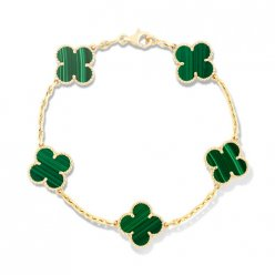 alhambra yellow gold copy van cleef & arpels malachite bracelet