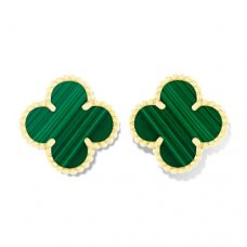 alhambra yellow gold replica van cleef & arpels malachite earrings