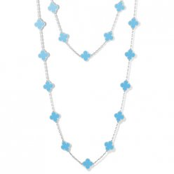alhambra or blanc replique van cleef & arpels turquoise long collier
