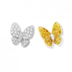 alhambra round white and yellow diamond replica van cleef & arpels marquise-cut diamonds earrings