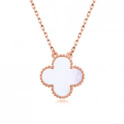 alhambra pink gold replica van cleef & arpels white mother-of-pearl pendant