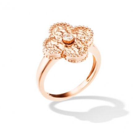 alhambra rotgold replika van cleef & arpels 1 round diamond ring
