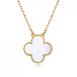 alhambra oro giallo imitazione van cleef & arpels white mother-of-pearl ciondolo