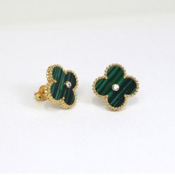 alhambra or jaune copie van cleef & arpels malachite round Diamants boucles d'oreilles