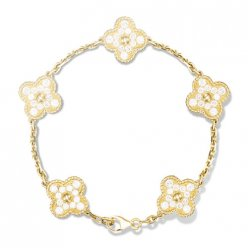 alhambra or jaune copie van cleef & arpels round Diamants bracelet