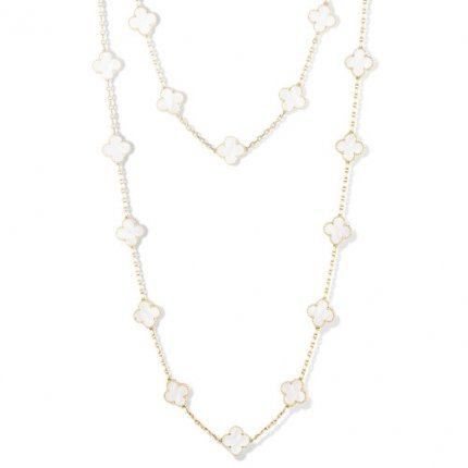 alhambra or jaune replique van cleef & arpels white mother-of-pearl long collier