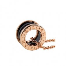 Bvlgari B.ZERO1 fake necklace pink gold black ceramic pendant