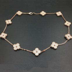 alhambra pink gold fake van cleef & arpels round diamonds necklace