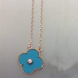 alhambra rotgold replika van cleef & arpels turquoise round diamond anhänger