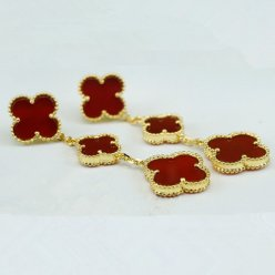 alhambra yellow gold fake van cleef & arpels carnelian earrings