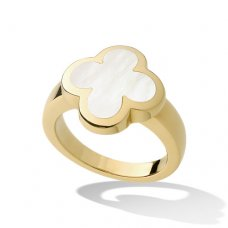 alhambra or jaune faux van cleef & arpels white mother-of-pearl bague