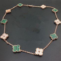 alhambra pink gold replica van cleef & arpels malachite round diamonds necklace