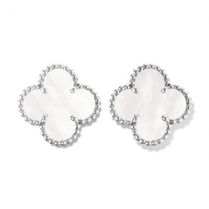 alhambra white gold replica van cleef & arpels white mother-of-pearl earrings