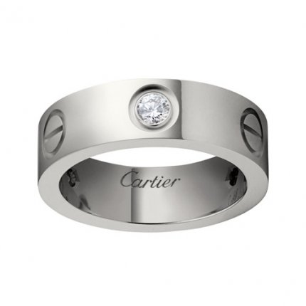 cartier fake love white gold ring mosaic three diamond wide version