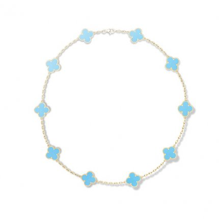 alhambra yellow gold replica van cleef & arpels turquoise necklace