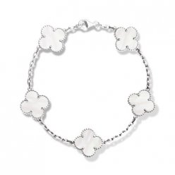 alhambra oro bianco replica van cleef & arpels white mother-of-pearl bracciale