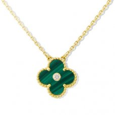 alhambra yellow gold copy van cleef & arpels malachite round diamond pendant