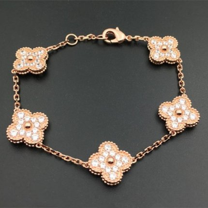 alhambra pink gold replica van cleef & arpels round diamonds bracelet
