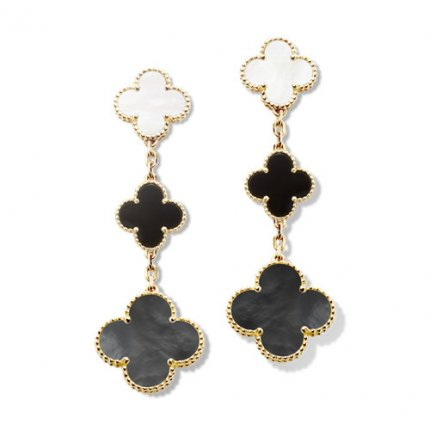 alhambra yellow gold fake van cleef & arpels onyx white mother-of-pearl earrings