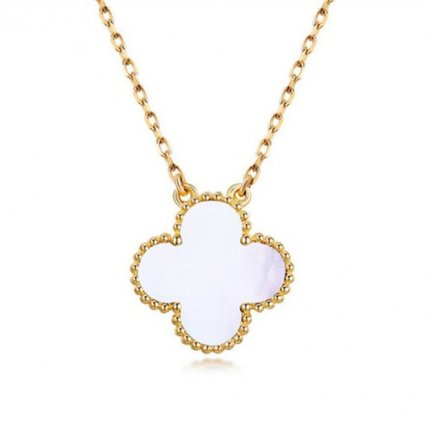alhambra gelbgold replika van cleef & arpels white mother-of-pearl anhänger