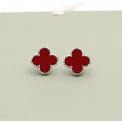 alhambra white gold fake van cleef & arpels carnelian earrings