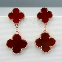 alhambra pink gold copy van cleef & arpels carnelian earrings