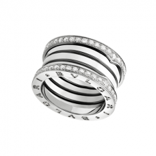 Bvlgari B.ZERO1 fake ring white gold 4 band with pave diamonds